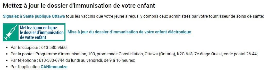 Mettre à jour dossier immunisation